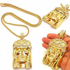 MENS ICED OUT 14K GOLD PLATED JESUS PENDANT GOLD,SILVER FRANCO CHAIN NECKLACE
