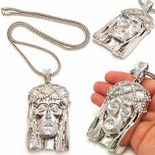 MENS ICED OUT 925 SILVER PLATED JESUS PENDANT GOLD,SILVER FRANCO CHAIN NECKLACE