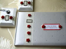 Wedding Guest Book & Matching Pen Set - Diamante & Roses - White or Ivory