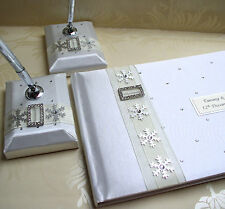 Wedding Guest Book & Matching Pen Set with Snowflakes - White or Ivory