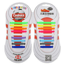 Kids No Tie Shoelaces Elastic Silicone Shoe Laces Canvas Sneaker Disability New