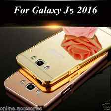 Aluminum Metal Bumper+Mirror Acrylic Back Cover For Samsung Galaxy J5 2016