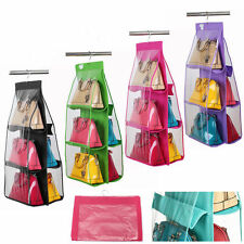 6 Pocket Hanging Handbag Purse Bag Tidy Organiser Storage Wardrobe Closet Hanger