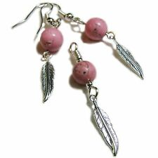 Lovely Feather and Pink Stone Bead Earring & Pendant Set