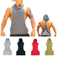 Men's Hooded Racerback Hoodie Tank Top Bodybuilding Vest Deep Cut Gym Top