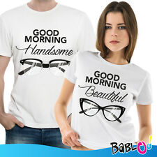 """Coppia Di T Shirt Magliette love You And Me """"Handsome and Beautiful"""""""