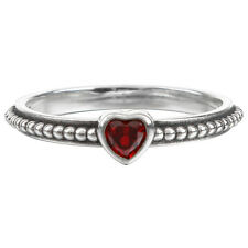 Silver Plated Heart Shape Red Zircon Ring US Size 6/7/8/9 Jewelry Gift for Girls