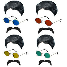 Wig and Glasses Lennon Ringo Beatles 60 70s Sgt Pepper Abbey Rock Fancy Dress 1C