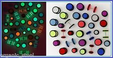 GLOW in DARK UV Disc Cheater Fake Ear Stretcher plug 1.2mm 16g 8 colours 3 sizes