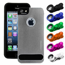 Motomo Aluminum Metal Brushed Hard Case Cover For iPhone 5/5S-6/6S + Camera Lens
