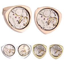 1 Pair Vintage Steampunk Watch Movement Gear Triangular Cufflinks
