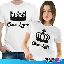 """Coppia di T Shirt Magliette You and Me """" One Love One Life"""""""
