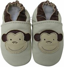 ✿ CHAUSSONS BEBE CUIR SOUPLE CAROZOO NEUF (singe) ✿