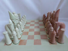 Large Hand Carved Natural Soapstone Chess Board and Tribal Chess Set
