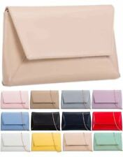 NEW PATENT LEATHER CLUTCH EVENING PROM BRIDAL SHOULDER GOLD CHAIN HAND BAG