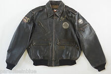 Harley Davidson Men's Vintage #1 Skull Brown Leather Jacket Eagle Patches L RARE