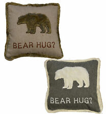 Cushion Cover & Inner Pad BEAR HUG Grey/White or Beige/Brown