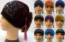 New Women Ladies Dimante Stone UnderScarf Hijab Tube Bone Bonnet Cap Back Flower