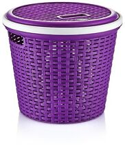 Round Storage Basket 13L Plastic Rattan Hamper Food Container Bin Box With Lid