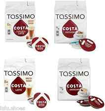 TASSIMO COSTA COLLECTION (latte, caramel) 2 or 4 Packs Set Capsules t disck