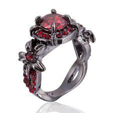 Wedding Bridal Marriage Engagement Red Garnet Finger Ring Black Gold Fill US 6-9