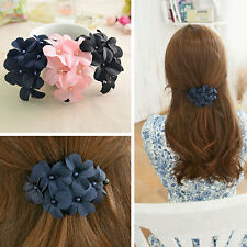 Sweet Multicolor Fabric Floral Banana Shaped Hair Claw Clip Hair Accessories