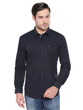 Oxemberg Men's Solid Casual 100% Cotton Black Shirt_MSL2154F_BLACK