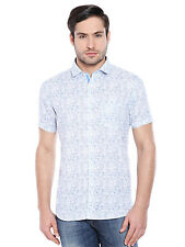Oxemberg Men's Printed100% Cotton Blue Shirt_MSL2351H_BLUE