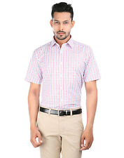 Oxemberg Men's Checkered Formal Cotton Poly Maroon Shirt_LFC9418RH_MAROON