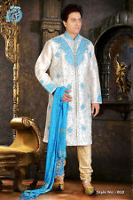MEN INDIAN DESIGNER BOLLYWOOD KURTA SHERWANI 2pc SUIT(WORLDWIDE POST)