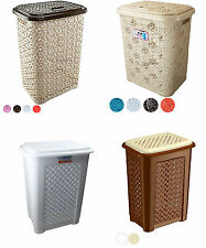 Rattan Laundry Basket Woven Style Plastic Washing Clothes Bin Storage Box 60LTR