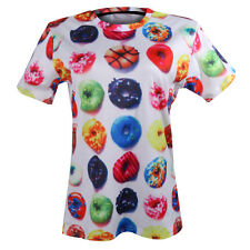 Couple 3D T Shirt Multi Donuts Printed O Neck Short Sleeve Fashion Lovers Shirts