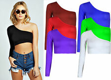 LADIES PERFECT CROPPED ONE SHOULDER LONG SLEEVE EVENING CROP TOP 8-14