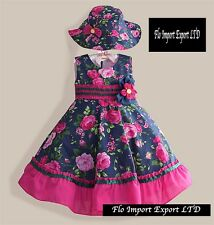 Vestito Bambina Abito e Cappello Fiori Girl Summer Flower Dress and Hat DGZF004