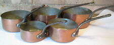 VINTAGE FRENCH COPPER PANS | SET OF 5 COPPER PANS | 2mm THICK | FRENCH PAN SET