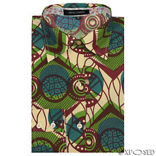 Ladies Women's Girls Ankara Printed Fitted Shirt Long Sleeve Blouse Casual Tops