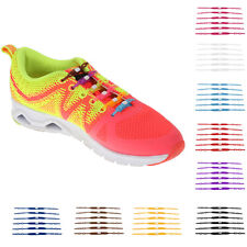 12PCS Elastic Canvas Shoes Shoe Laces Running No Tie Sneakers Shoelaces Silicon