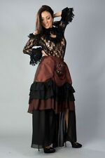 Gothic Victorian Steampunk Vintage Brass Copper Long Taffeta Evening Skirt
