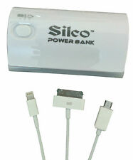 Silco 5200 mAh Power bank with Torch and 3 in 1 Data Cable USB Portable