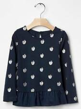 NWT babyGap Girls Black Top Blouse  With Silver Metallic Apples Size 12-18 M & 3
