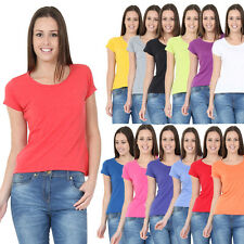 NEW WOMEN'S PLAIN STRETCHY LADIES RIBBED VEST TOP T SHIRT Round NECK SIZES 6-20