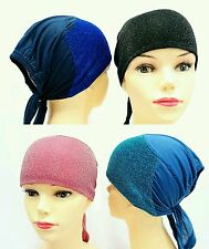 Hijab, under caps for Hijab- bonnet - half cotton half glitter bonnet for women.