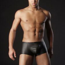 Sexy Men PU Leather Shorts Trunk Stretch Ring Low Rise Clubwear Boxer Underwear