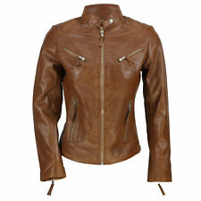 Ladies Women's Real Leather Vintage Fitted Tan Brown Biker Jacket Size S – 5XL