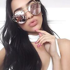 Large Oversized Cat Eye Sunglasses Metal Frame Flat Mirror Lens Women Fashion