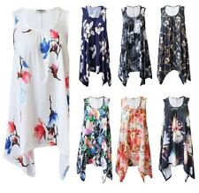 A259 New Women Ladies Floral Printed Hanky Hem Flared Round Neck Swing Top 8-26