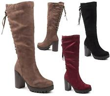 LADIES WOMENS LACE UP BACK KNEE HIGH FAUX SUEDE HIGH HEEL RIDING BOOTS SIZE