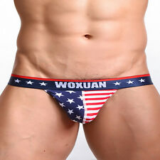 Men Sexy American Flag Underwear T-back  Thongs Panties Jockstrap Briefs