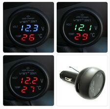 Car USB Charger Voltmeter Thermometer Digital 3 in 1 12/24V Cigarette Lighter