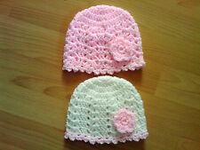 Handmade Crocheted Baby Girl Lacy Beanie Hat/Bonnet with picot edge 100% Acrylic